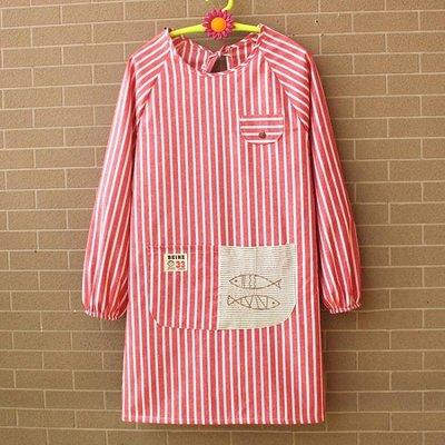 【蘑菇小隊】新年鉅惠圍裙長袖條紋雙層廚房韓版時尚可愛罩衣反穿倒褂防水防油純棉-MG34738