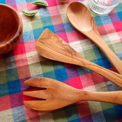 【灶咖好物】料理餐具 橄欖木鏟 木匙 木叉 組合  30cm長 可攪拌, 拌炒, 料理