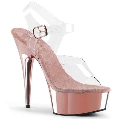 Shoes InStyle《六吋》美國品牌 PLEASER 原廠正品透明金屬鍍鉻厚底高跟涼鞋 有大尺碼『玫瑰金色』