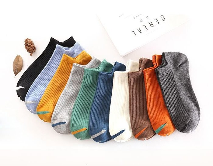 【NoComment】很有質感很舒適的純棉撞色防臭船型短襪 七雙350元