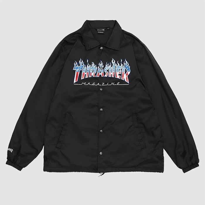 【QUEST】THRASHER日線 FLAME PATRIOT COACH JACKET - 愛國者火焰教練外套