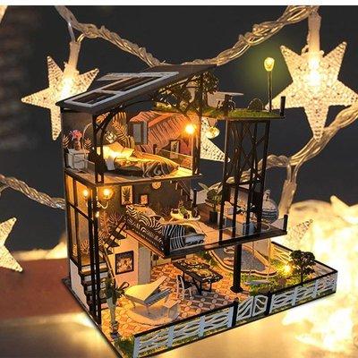 玩具 積木dollhouse DIY creative handmade  cabin micro-shrinking house