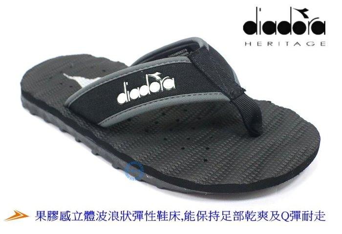DIADORA男款運動休閒動能排水孔夾腳拖鞋 (黑色6270 )