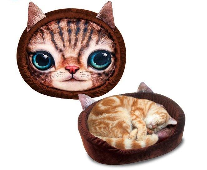 《特價促銷出清》日本 Marukan 貓窩CT-341(咖啡色貓臉)  適用全年齡貓/貓床/貓窩/貓墊/睡墊/軟墊