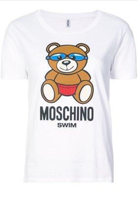 義大利品牌代購 ~ MOSCHINO Teddy Bear T-shirt  白色蛙鏡泳褲熊 / 短袖T恤 / SWIM