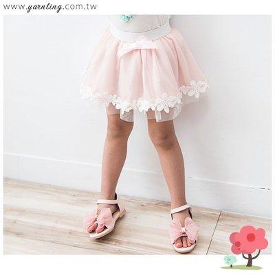 〔清倉.出清〕春夏。女童裝。下襬花朵滾邊蕾絲公主短裙~粉色(5號)*勻伶流行館~貨號55816