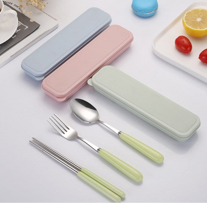 304 陶瓷不鏽鋼餐具組 三件套 KG0006 不鏽鋼 筷子 湯匙 旅行 攜帶式 環保餐具