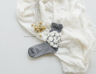MH選物室 MAISON BLANCHE 點點 2重編  保暖 襪子 短襪 中筒襪 襪子