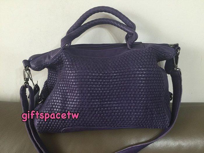 義大利設計師款le queen 水洗小羊皮編織高質感設計型款手提肩背斜背三用包 紫色現貨