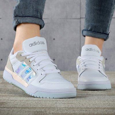 Adidas NEO ENTRAP 經典 復古 低幫 鐳射 皮面 白色 百搭 休閒 運動 滑板鞋 FX3448 女鞋