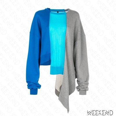 【WEEKEND】 UNRAVEL 拼接 異材質 不對稱 寬鬆 長袖 上衣 衛衣 大學T 藍+灰色 19春夏
