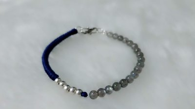 HAKUNA  MATATA  哈庫拉  瑪塔塔  手作坊-925銀拉長石銀珠蠟繩手鍊Labradorite silver bead wax bracelet