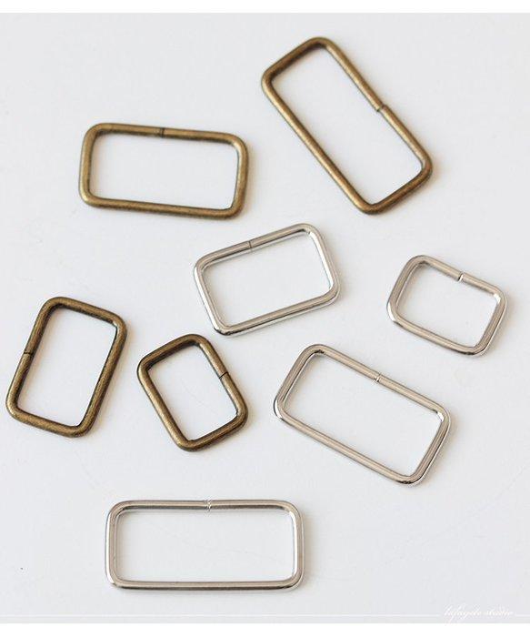 奇奇店-DIY材料古銅銀色金屬調節扣口字環箱包配件方扣兩擋扣方形環(規格不同價格不同)
