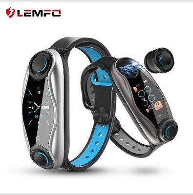 LEMFO LT04雙藍牙耳機手環 藍牙5.0運動 血壓血氧檢測心率監測監控手環#15831