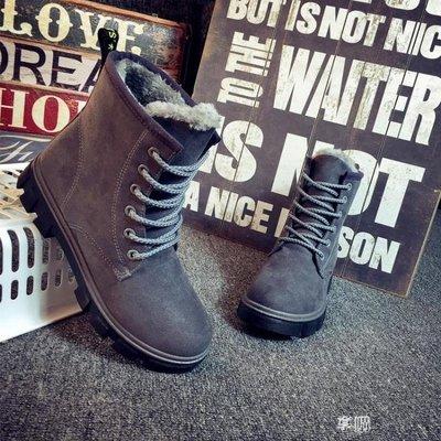 韓版加絨保暖馬丁靴女短靴學生棉鞋平底靴雪地靴女靴子女鞋