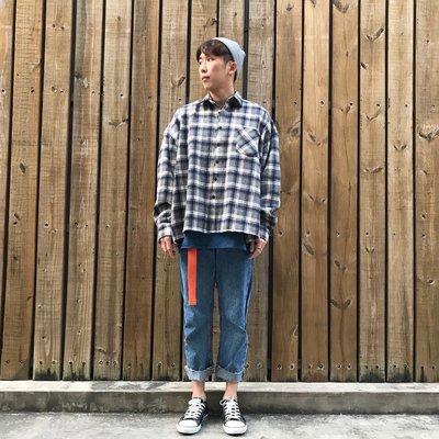 【inSAne】韓國購入 / 毛呢襯衫 / 厚磅數 / 黑灰