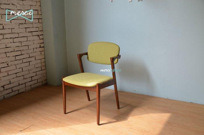 美希嚴選 Sherlock 夏洛特餐椅/書桌椅/flap-back chair /訂製款/亞麻綠布胡桃椅架