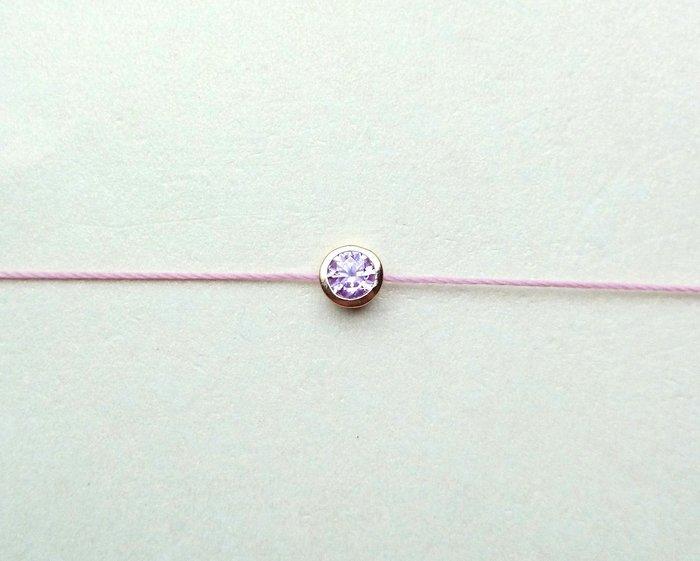 [Le Bonheur Line] 幸福線 手工/金色包鑲5mm 粉紅/ 紅線 手鍊 飾品 可愛 禮物 生日 人緣 韓版