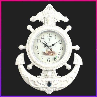 ZIHOPE 客廳掛鐘 地中海個性船舵歐式掛鐘客廳美容院創意招財藝術壁掛時鐘裝飾鐘錶ZI812