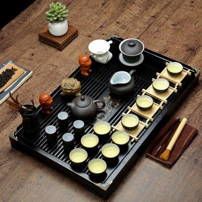 茶具套裝功夫紫砂陶瓷冰裂整套茶托茶海茶道實木茶盤家用LVV7803【歡樂購】