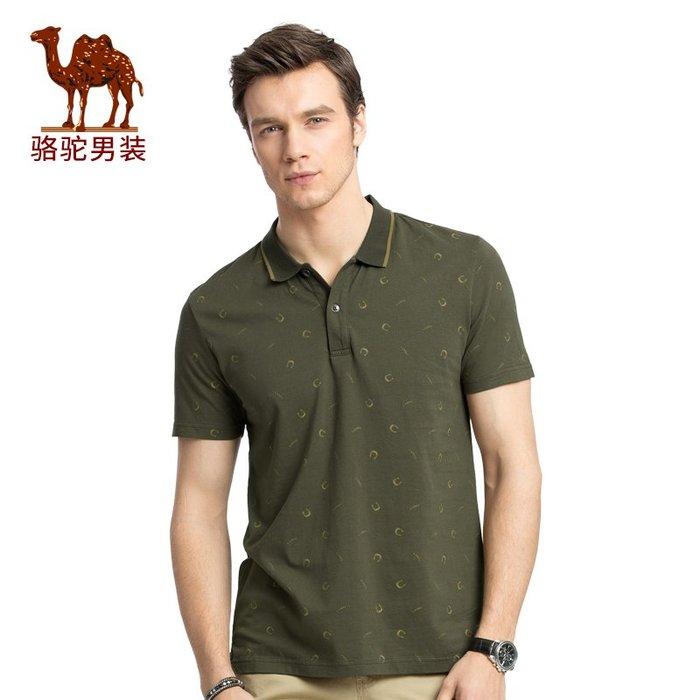 時尚服飾 CAMEL駱駝男裝 字母印花翻領商務休閑微彈短袖T恤衫男 X7B214150