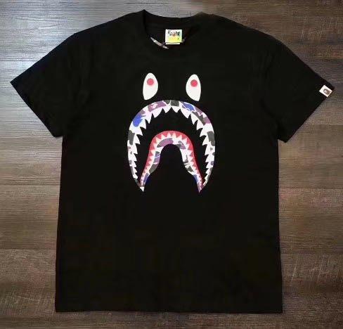 日本bathing ape Bape Store HongKong香港店13周年别注迷彩鯊魚短袖T恤男女黑白tee
