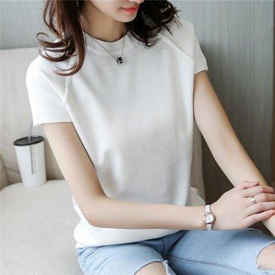短款套頭圓領打底衫女寬鬆薄毛衣針織衫春夏裝短袖T恤女上衣潮