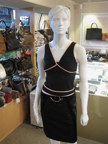 *旺角名店* Chanel 黑色粉紅滾邊V領無袖上衣 背心 [05280306] 廣告雜誌款 秀款