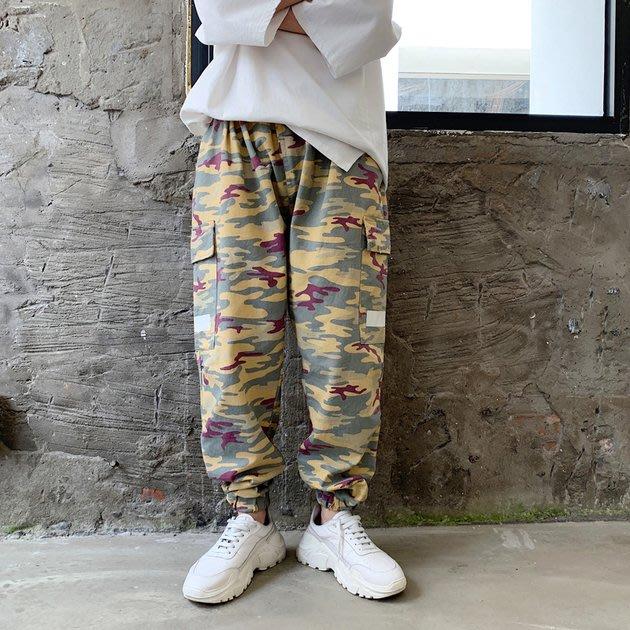 FINDSENSE 2019 秋冬上新 G19  復古迷彩嘻哈街頭束腳工裝褲潮流哈倫褲男裝百搭寬鬆休閒長褲