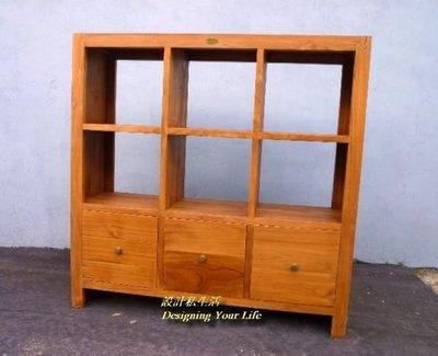【設計私生活】柚木實木6格三抽書櫃、隔間櫃、屏風櫃(全館一律免運費)