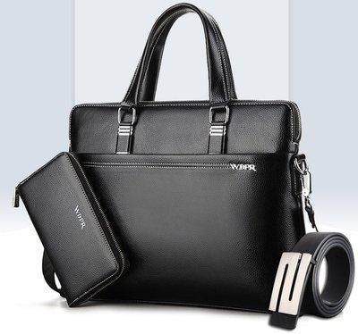 新品男包橫款手提包單肩包時尚斜挎包休閒男士商務公事包背包買一送二