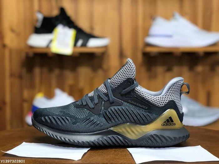 ADIDAS ALPHABOUNCE BEYOND 愛迪達 黑灰 編織 透氣 休閒運動慢跑鞋 CG4762 男