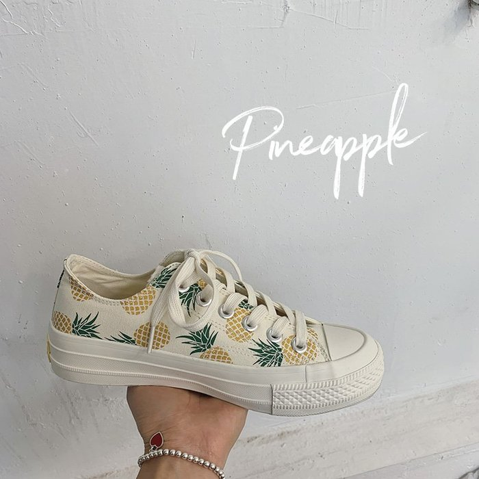 小尤家~櫻桃帆布鞋女新款鞋子學生韓版ulzzang復古港味百搭ins潮板鞋