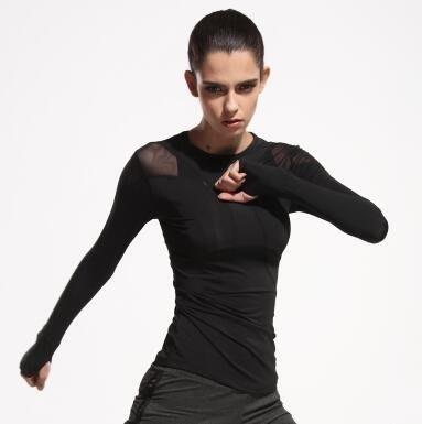 運動跑步瑜伽服長袖女網紗速干健身運動服