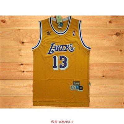 湖人隊 13號 威爾特·張伯倫Wilt Chamberlain 復古黃 復古極品網眼球衣NBA-胖胖購物