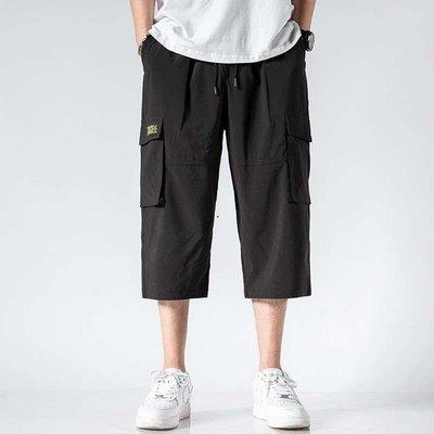 高街潮品 潮牌it neith BIAS七分工裝褲男薄款寬松運動多口袋冰絲速干短褲