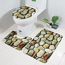 新品卵石印花地墊三件套浴室防滑地毯套裝 台北自由號