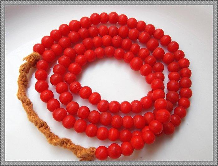 【雅之賞|藏傳|佛教文物】*特賣*尼泊爾古法手工小雪巴琉璃 6mm琉璃珠一串(108顆以上)~120505