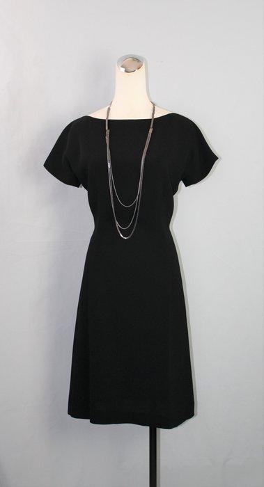 海洋工坊名牌二手旗艦店~Donna Karan 經典黑色短袖洋裝