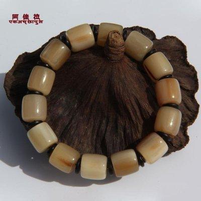 ZIHOPE 正宗保真純天然西藏牦牛角血絲佛珠藏式桶珠文玩手串男手鍊女ZI812