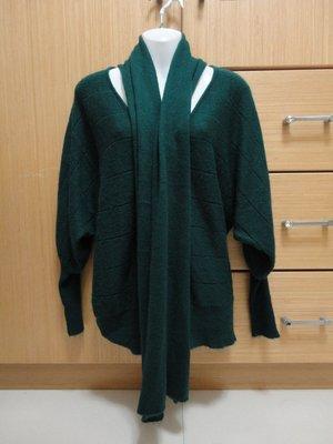 OZOC 深綠色大V領+造型圍巾長袖針織衣