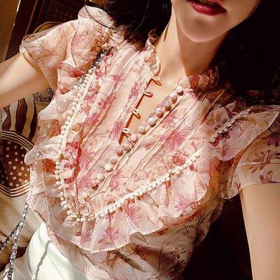 《巴黎拜金女》粉色碎花襯衫短袖小清新甜美娃娃領上衣小眾