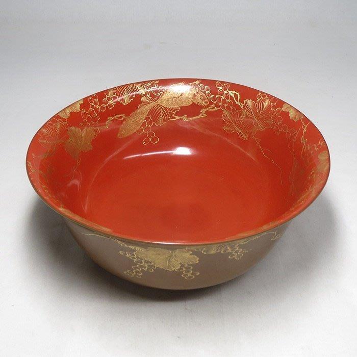日本 明治 松鼠葡萄 木胎  剃紅 漆器大碗