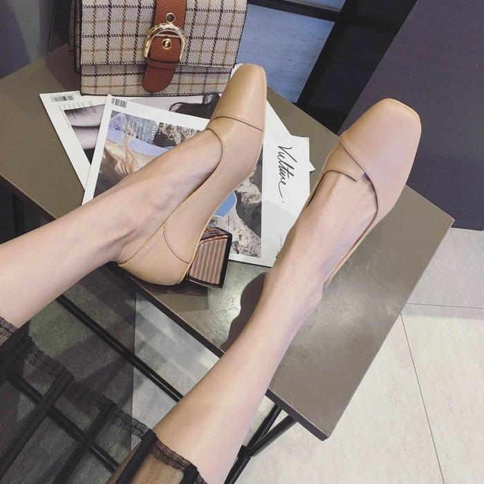 粗跟單鞋女春季新款韓版百搭方頭淺口中跟奶奶鞋休閒高跟鞋女