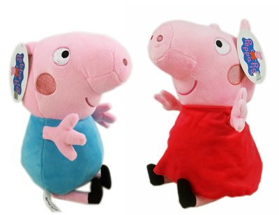 【卡漫迷】 粉紅豬 小妹 玩偶 高25cm 紅衣 二選一 ㊣版 Peppa Pig 佩佩豬 絨毛 布偶 娃娃 擺飾 喬治