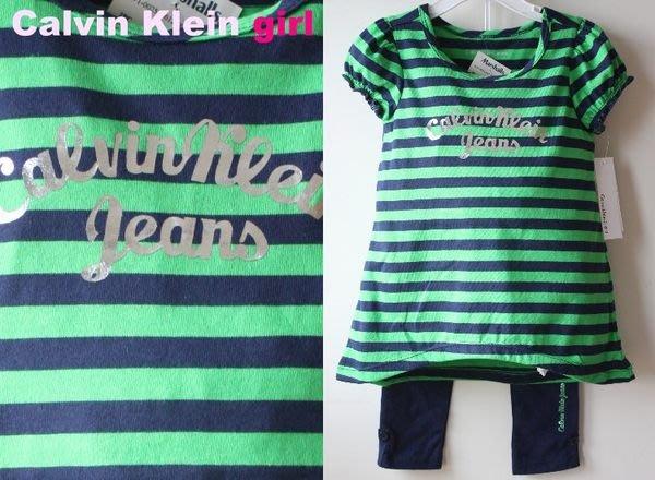 【Calvin Klein CK girl】100% 全新正品 短袖+長褲 套裝 二件組【3T】*美國寄出*