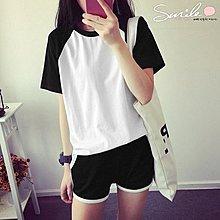 【V937】SMILE-休閒運動.拼接圓領短袖T恤+鬆緊腰短褲套裝