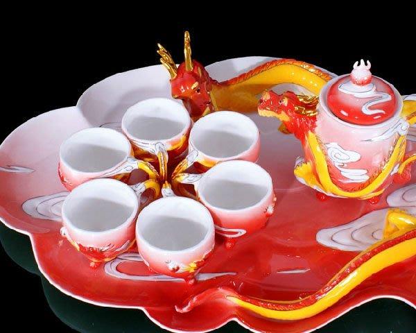 5Cgo 【鴿樓】會員有優惠 10723232981 法琅瓷黃金龍茶具 整套功夫茶具 陶瓷禮品茶具套裝