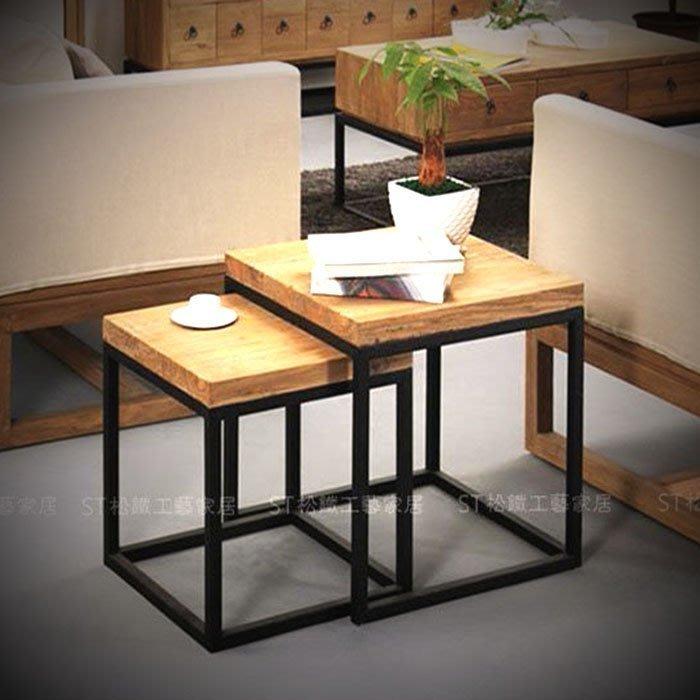 【松鐵工藝家居】LOFT美式鄉村鐵藝實木茶几邊幾套裝/床頭櫃沙發幾電話小木桌 餐廳咖啡廳品東西IKEA有情門