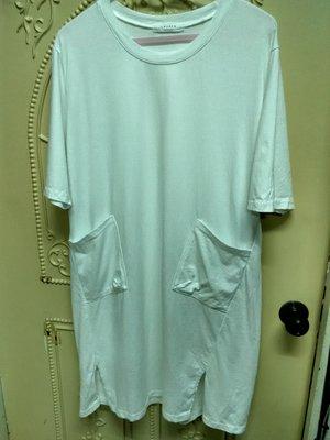 全新韓系oversize白色長版口袋T恤洋裝